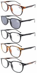 Reading Glasses 5-Pack Quality Spring Hinge Temples with Fashion Large Frame Includes Sunshine Readers R065-Mix