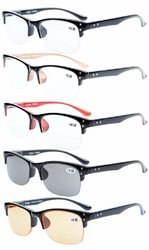 Reading Glasses 5-pack Stylish Half-rim Design with Quality Spring Hinges Readers Women Men R088-5pc-Mix