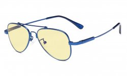 Computer Glasses Anti Blue Light for Kids Pilot Style Memory Frame-Yellow Tinted Lens Blue TMK1801