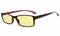 Computer Reading Glasses Blue Light Blocking Small Rectangle Yellow Tinted Lens Black-Red TMCG178