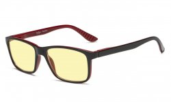 Computer Reading Glasses Yellow Tinted Lens Blue Light Shield Black-Red TM163