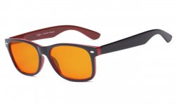 Blue Blocking Computer Glasses for Sleep-Nighttime Orange Tinted Black-Red DSS109