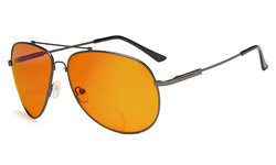 Bifocal Reading Glasses Blue Blocking for Sleep-Nighttime Orange Tinted Men Women Gunmetal DSSG1802