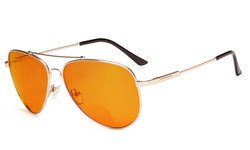 Bifocal Reading Glasses Blue Blocking for Sleep-Nighttime Orange Tinted Memory Frame Gold DSSG1804