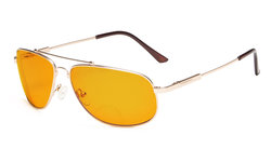 Bifocal Reading Glasses Blue Blocking for Sleep-Nighttime Memory Frame Orange Tinted Gold DSSG1803