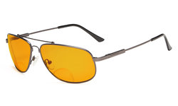 Bifocal Reading Glasses Blue Blocking for Sleep-Nighttime Memory Frame Orange Tinted Gunmetal DSSG1803