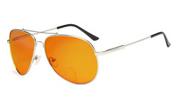 Bifocal Reading Glasses Blue Blocking for Sleep-Nighttime Orange Tinted Men Women Silver DSSG1802