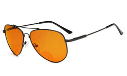Bifocal Reading Glasses Blue Blocking for Sleep-Nighttime Orange Tinted Memory Frame Black DSSG1804