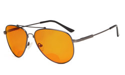 Bifocal Reading Glasses Blue Blocking for Sleep-Nighttime Orange Tinted Memory Frame Gunmetal DSSG1804