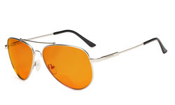 Bifocal Reading Glasses Blue Blocking for Sleep-Nighttime Orange Tinted Memory Frame Silver DSSG1804