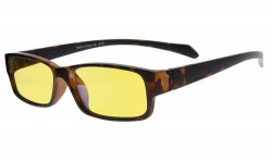 Computer Reading Glasses Anti Blue Light More than 94% TR90 Frame Yellow Tinted Lens Tortoise CGXM02