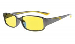 Computer Reading Glasses Anti Blue Light Yellow Tinted Lens for Electronic User Grey-Yellow CGXM03