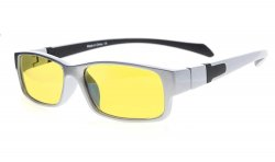 Computer Reading Glasses Anti Blue Light More than 94% TR90 Frame Yellow Tinted Lens Silver Black CGXM02