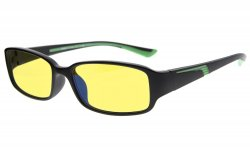 Computer Reading Glasses Anti Blue Light Yellow Tinted Lens for Electronic User Black-Green CGXM03