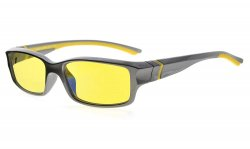 Computer Reading Glasses 94% Blue Light Blocking Yellow Tinted Lens Grey-Yellow CGXM01