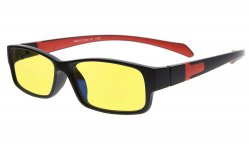 Computer Reading Glasses Anti Blue Light More than 94% TR90 Frame Yellow Tinted Lens Black Red CGXM02