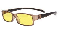 Computer Reading Glasses Anti Blue Light More than 94% TR90 Frame Yellow Tinted Lens Brown CGXM02
