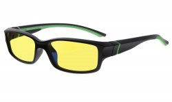 Computer Reading Glasses 94% Blue Light Blocking Yellow Tinted Lens Black-Green CGXM01