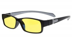 Computer Reading Glasses Anti Blue Light More than 94% TR90 Frame Yellow Tinted Lens Black Grey CGXM02