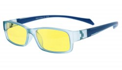 Computer Reading Glasses Anti Blue Light More than 94% TR90 Frame Yellow Tinted Lens Blue CGXM02