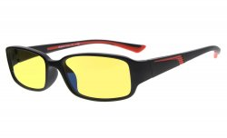 Computer Reading Glasses Anti Blue Light Yellow Tinted Lens for Electronic User Black-Red CGXM03