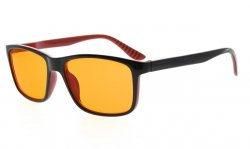 Computer Eyeglasses Anti 97% Blue Light Orange Tinted Lens Black-Red +0.00