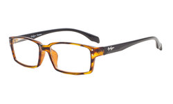 Reading Glasses Classic rectangle Full Frame with Spring-Hinges Classic Readers Women Men Amber/Black Arm R096