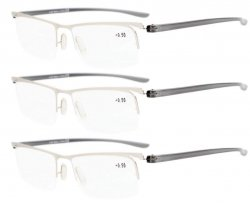 Reading Glasses 3-Pack Half-rim Lightweight Quality Metal Frame Readers Women Men Silver R15615-3pcs