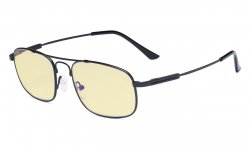 Blue light Glasses Men Women-Computer Eyeglasses-Memory Titamiun Frame Spring Hinges Double Bridge Black TMCG1705