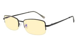 Computer Glasses-Anti Blue Light Eyeglasses-Classic Metal Frame Half Rim Spring Hinge Readers Gunmetal CG15015
