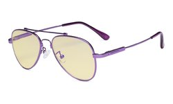 Computer Glasses for Kids Anti Blue Light Eyeglasses Pilot Style Memory Frame-Yellow Tinted Lens Purple TMK1805