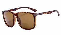 Bifocal Sunglasses with Large Square Frame DEMI-Brown-Lens SGS037