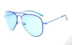 Stainless Steel Frame Pilot Kids Children Sunglasses Blue-Lens S15018