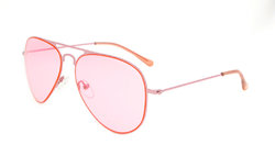 Stainless Steel Frame Pilot Kids Children Sunglasses Pink-Lens S15018