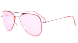 Stainless Steel Frame Pilot Kids Children Sunglasses Pink Lens S15017