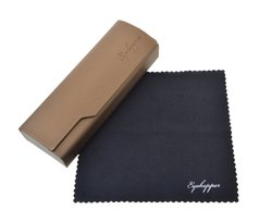 Metal Glasses Case With Microfiber Cleaning Soft Cloth Men Womens Brown R3