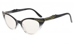 Cateyes Computer Glasses UV Protection Eyeglasses Women Black-Clear CG914