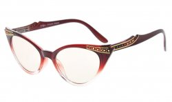 Cateyes Computer Glasses UV Protection Eyeglasses Women Red-Clear CG914