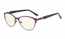 Computer Reading Glasses,Blue Light Filter Readers,Stylish Cateye Oval Reading Eyeglasses Women,Purple LX17021