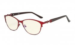 Computer Reading Glasses,Blue Light Filter Readers,Stylish Cateye Oval Reading Eyeglasses Women,Red LX17021