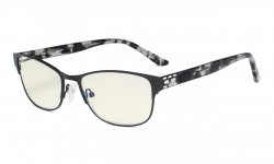 Computer Reading Glasses,Blue Light Filter,Stylish Crystal Readers Women,Black LX17019