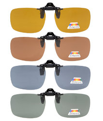 Flip-up Clip-on Sunglasses Polarized 60x43 MM 4-Pack Metal Glasses Clip JQ3-4pcs