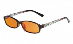 Ladies Blue Light Blocking Computer Reading Glasses-Floral Design Temple Readers Women with Orange lens,Green DSR908
