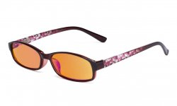 Ladies Blue Light Blocking Computer Reading Glasses-Floral Design Temple Readers Women with Orange lens,Red DSR908