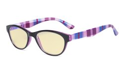 Eyekepper Blue Light Blocking Reading Glasses Women with Yellow Filter Lens - Ladies Cateye Computer Readers - Pink TM074