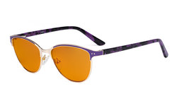 Ladies Blue Light Blocking Glasses with Orange Tinted Filter Lens for Sleeping - Cateye Computer Eyeglasses Women - Anti Blue Ray Eyewear - Purple LX19009-BB98