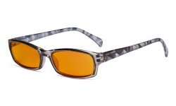 Blue Light Blocking Reading Glasses Women with Orange Tinted Filter Lens for Sleeping - Ladies Pattern Arm Computer Readers - Grey DSRT1803