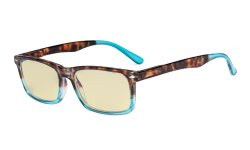 Blue Light Blocking Reading Glasses Men Women with Yellow Filter Lens - Comfort Computer Readers - Tortoise/Blue TMCG899