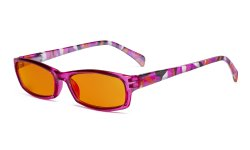 Blue Light Blocking Reading Glasses Women with Orange Tinted Filter Lens for Sleeping - Ladies Pattern Arm Computer Readers - Purple DSRT1803