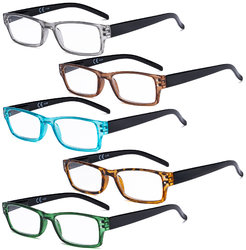 Reading Glasses 5 Pack Cute Readers for Women Men Reading R012N-Mix